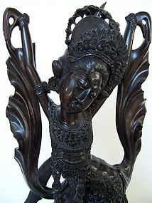 A Superb Indonesian Ebony Wood Legong Dancer Carving