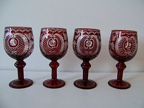 A Good Set Of Egermann Bohemian Crystal Wine Glasses Item