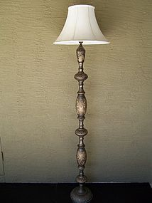 Large and elegant hand etched brass floor lamp india for Brass floor lamp india