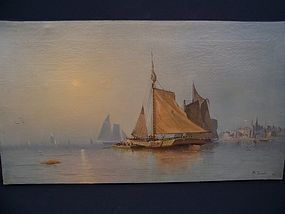 A Large 19th Century Nautical Oil Painting dated 1871