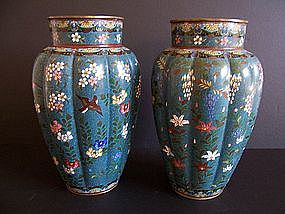 A Large and Early Pair of Japanese Cloisonne Vases