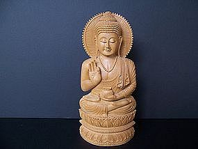 A Superbly Carved Sandalwood Buddha from Jasailmer