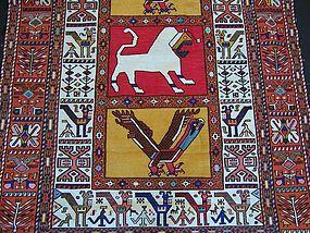 Vintage Persian Silk Cotton Kilim Rug