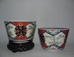 Pair of Ko Imari Aka-e Kinrande Mukuzuke Mid Edo