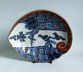 Ko Imari Aka-e Kinrade Abalone dish c.1730-50 No 3