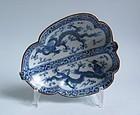 "Rare Koto ""War Fan"" Shaped Dish Late Edo No 1"
