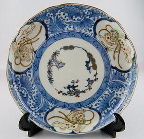 Ko Imari Shochikubai San Shishi Plate No 1