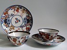 Imari Bijin and Flower Car Teabowls and Saucers c.1700