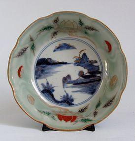 Ko Imari Landscape and Chestnut pattern Celadon Bowl c.1760 No 2