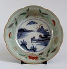 Ko Imari Landscape and Chestnut pattern Celadon Bowl c.1760 No 2