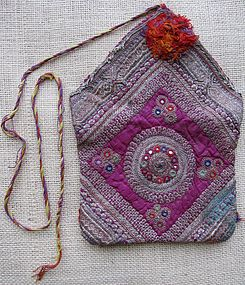 A silk embroidered purse from Afghanistan