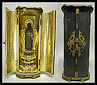 EDO Japanese Amida Nyorai Buddha Gilt-wood in Zushi