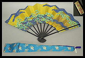 Kyoto Tea Ceremony Sensu Fan Handpainted by YAMAOKA