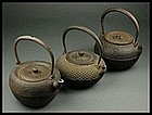 FINE Japanese Tea Ceremony Tetsubin Cast Iron 3 pcs Set