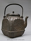 Japanese Relief Tetsubin Cast Iron Tea Ceremony Pot