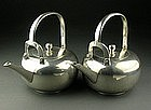 Japanese Tea Ceremony STERLING SILVER Tetsubin Pair Pot