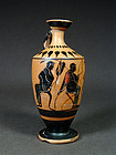 Attic black-figure lekythos with seated men, 500-480 BC