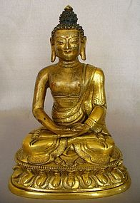 Tibeto Chinese 18th Century Gilt Bronze Buddha