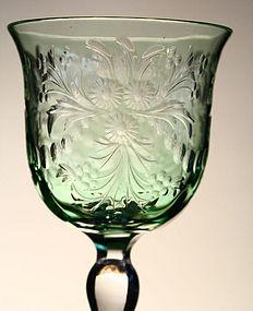 Green Cut-to-Clear Wine Glasses