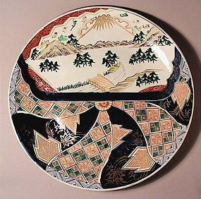 Beautiful Japanese Ko Imari Charger with Mt. Fuji 19c