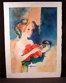 Rare Original Lithograph by Paul Guiramand, Amor