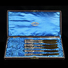 Set of 6 Vintage Ernst Wage Juwelier Sterling Silver Gilt Knives-1850