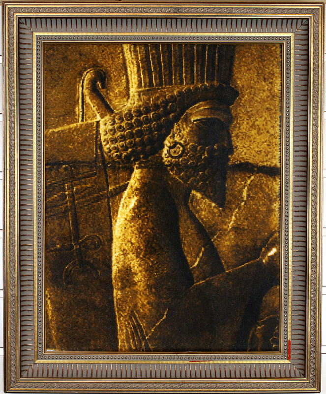 "Persian Achaemenid Soldier Hand knotted Wool Rug 12"" x 16"" with Frame"