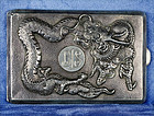 Antique Chinese Export Silver Cigarette Case with Dragon Design-C.1900