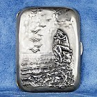 Rare Sterling Silver 925 Cigarette Case with Nude Woman on the Sea