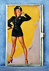 English Silver Pictorial Card ID Case-Pin Up Girl Police Woman 1940