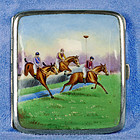 1930 German Pictorial Enameled Silver Cigarette Box-Equestrian Scene
