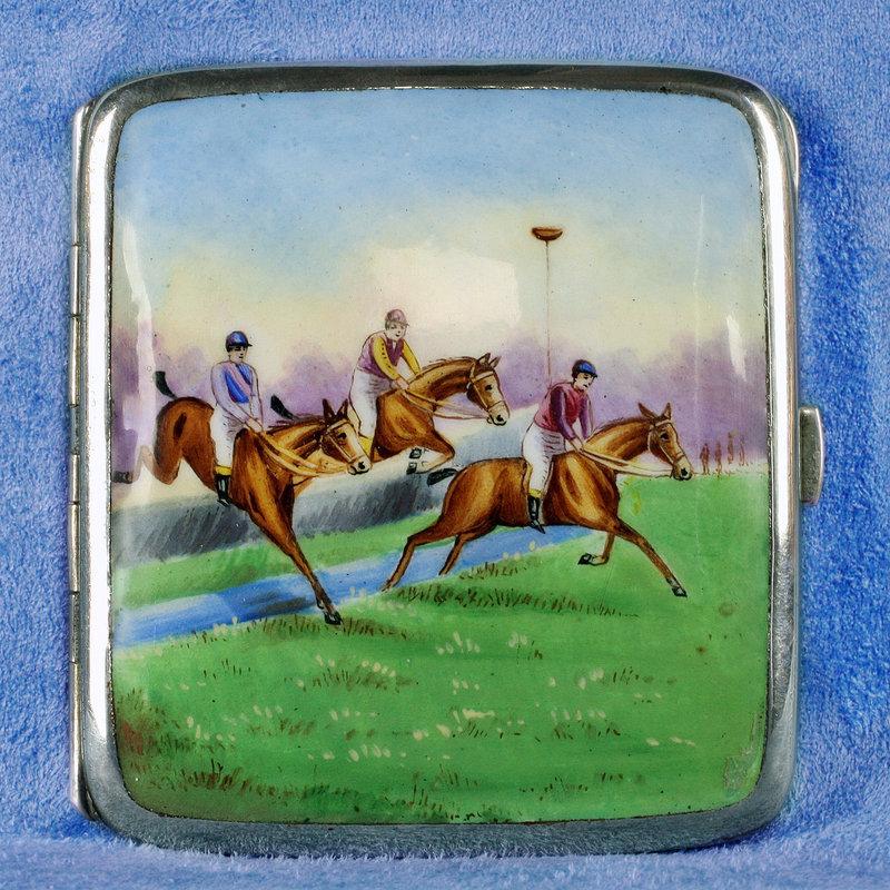 1930 German Pictorial Enameled Silver Cigarette Box-Equestrian Scene