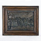 Bronze Wall Hanging Cast Plaque - Colonial Tavern Scene, Ornate Frame