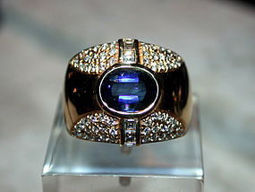 Genuine Blue Sapphire & Diamond Ring Solid 18K. Gold