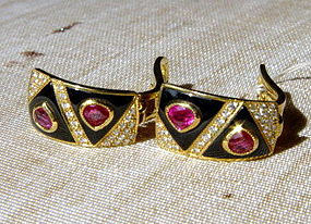 Striking  Burma Ruby-Diamond-Onyx 18K. Gold Earrings