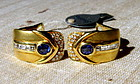 Dashing Genuine Blue Sapphire-Diamond Earrings 18K Gold