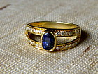 Fine Genuine Blue Sapphire-Diamond Ring 18K. Gold