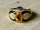 Genuine Yellow Sapphire-Diamond-Onyx18K Solid Gold Ring