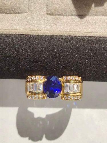 Finest Genuine Ceylon Blue Sapphire-Diamond Ring 18K.