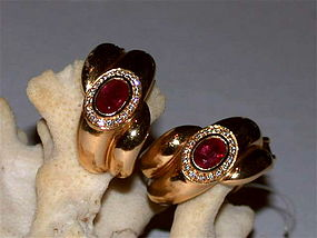 Solid 18K. Gold Earrings Genuine Rubies-Diamonds