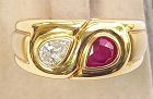 Solid 18K. Gold Ring set with Genuine Diamond and Ruby