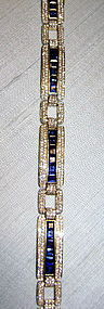 Magnificent Blue Sapphire-Diamond Bracelet 18K. Gold