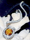 Exquisite Yellow Ceylon Sapphire-Diamond Pendant 18K.