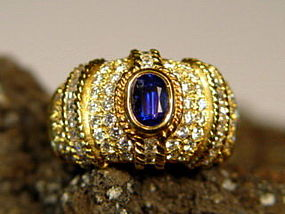 Genuine Ceylon Blue Sapphire-Diamond Ring in 18K. Gold