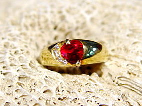 18K. Solid Gold Ring set with Genuine Ruby & Diamonds