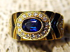 Genuine Blue Sapphire, Diamond, Onyx Ring 18K. Gold