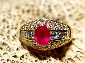 Magenta Genuine Burma Ruby-Diamond Ring 18K. Gold