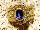 Genuine Blue Sapphire-Diamond 18K. Gold Filigree Ring