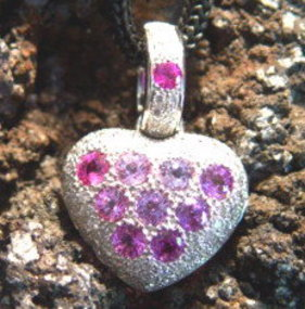 18K. White Gold Pendant w. Pink Sapphires-Pave Diamonds