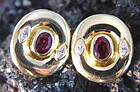 18K. Gold Earrings with Rubies & Marquise Diamonds